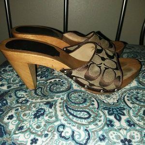 coach wooden sandals
